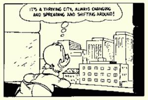 Dagobert schaut auf diese Stadt und erkennt ...