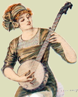 Banjo spielende Frau