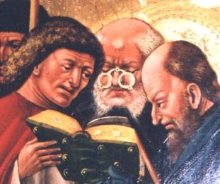 Darstellung eines brilletragenden Apostels ... Klosterneuburger Flügelaltar