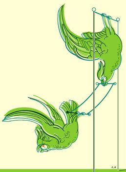 Papageien mit Trapez